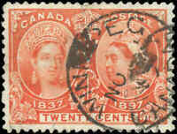 1897 Used Canada 20c F-VF Scott #59 Diamond Jubilee Stamp