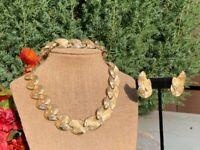 Vintage Signed Coro Rhinestone Gold Tone Necklace Bracelet & Earrings Parure Set