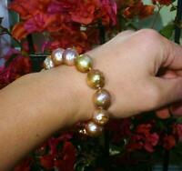 12-13mm lila Edison Barock Perle  Stretch-Armband