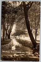 Clifton Springs NY Back Park River & Stones Vintage RPPC Real Photo Postcard C4