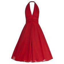 Vestiti da donna stile anni'50, rockabilly rosse lunghezza al ginocchio