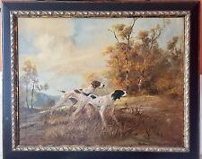 Antique A. D. Greer Oil Painting English Pointers Rare Subject Bird Dogs Hunt