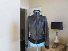 Zara Leather Bomber Jacket Coat Brown Lined Pockets Size XS