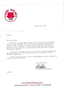 LARRY HOLMES SIGNED LETTER WITH  SOUVENIRS LIST 1988 RARE