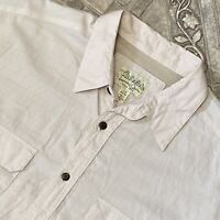 Cabelas Large Beige Vented Shirt Outdoor Fishing Casual Mens