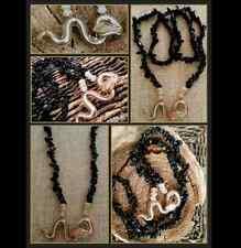 Rare Black Onyx Gold Crystal Snake Golden Healer Quartz Beaded Necklace Artisan