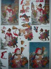 3D A4 Christmas Paper Tole Snowman FREE FOAM SQUARES