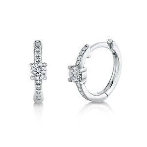 Diamond Huggie Earrings 14k White Gold Natural Mini Hoop Round Cut 0.25ct F SI1