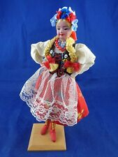 Clothe Doll German Fest Polish Folk Blonde Braids Floral Dress European
