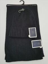 Men's Scarf Hat Set CLUB ROOM Cuffed Beanie Winter Hat Knit Scarf 10x 64 Black