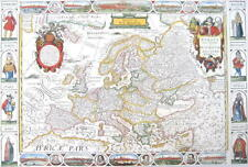 EUROPA POSTER MITTELALTERLICHE LANDKARTE NOVA EUROPA EUROPE MIDDLE AGE MAP