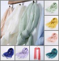 unifarbe locker gewebt lange Fransen 100% Leinen Frühling Sommer Schal Farbwahl