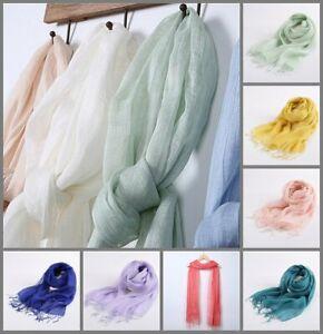 Leinen Frühling Fransen Sommer-Schal Leinen-Tuch Damen Herren Unifarbe einfarbig