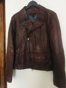 John Varvatos -Sammy Biker  Leather Jacket- Chestnut -Large