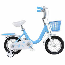 """12"""" Kids Bike Bicycle Children Boys & Girls with Training Wheels and Basket Blue"""