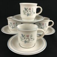 NEW Set of 4 Cups and Saucers Hearthside Fleur de Lune Floral Chantilly Japan