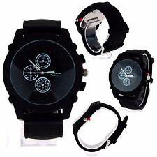 Geneva Minimal Round Sport Silicone Band Stainlessl Analog Wrist Watch