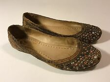 "Frye ""Carson Studded"" Distressed Brown Leather Ballet Flats Women Size 6.5 M"
