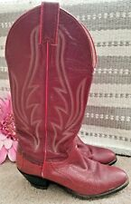 Vintage JUSTIN COWBOY BOOTS SnakeSkin RED Scroll Leather Women Shoes Sz 8 👣ks1