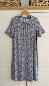 M & S Collection 16 Viscose Jersey Navy Print Relaxed Fit Dress.
