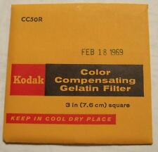 "KODAK COLOR COMPENSATING GELATIN FILTER NO. CC50R 3"" or 7.6cm Square"