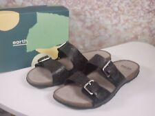 Earth Perforated - Leather Slide Sandals- Sand Antigua - Black - 11 Wide