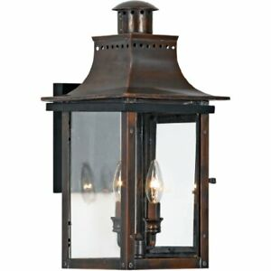 Quoizel CM8410AC 2-Light Chalmers Outdoor Lantern in Aged Copper