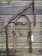 LEATHER WESTERN HORSE HEADSTALL BREASTCOLLAR BARREL TRAIL PLEASURE SHOW TACK SET