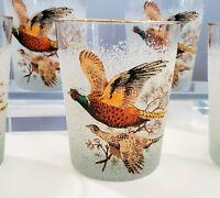 """6 gold rimmed old fashioned rocks glasses pheasants birds textured 4-7/16"""" tall"""
