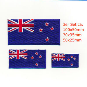 3 Neuseeland Flaggen Wellington New Zealand Flags Aufnäher Aufbügler Set 1078