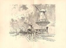 1898 superbo originale Litografia di Joseph Pennell – mulini a vento vicino a Rotterdam