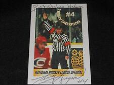 NHL Referee Terry Gregson Autograph League Issued Signed Card  JB10