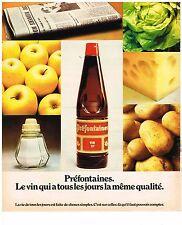 PUBLICITE  1974   PREFONTAINES  le vin de qualité