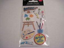 Scrapbooking Stickers Sandylion School Art Artist Easel Paint Palette Brushes