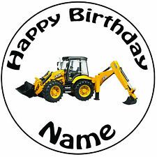 """Personalised Birthday JCB Loader Digger Round 8"""" Easy Precut Icing Cake Topper"""