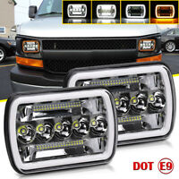 "Pair 7''x6'' 5X7"" 210W LED Headlights For Chevy Express Cargo Van 1500 2500 3500"