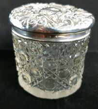 Beautiful Antique Cut Glass Pot Hall Marked Solid Silver Lid (Height - 6 cm