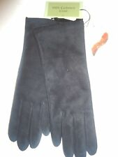 Ladies Women's 100% Cashmere Lined Genuine Leather Gloves,Small,Black