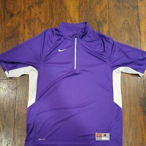 Nike Team Drifit 1/4 Zip Pull Over Shirt Mens Medium Purple while Short Sleeve