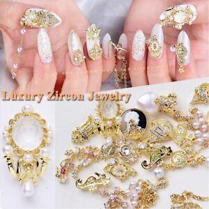 Shiny Zircon 3D Nail Art Decoration Charms Pearl Diamonds Crystal Alloy Pendant