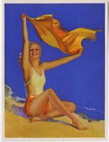 Original 1930s Rolf Armstrong Art Deco Bathing Beauty Pin-Up Print Sunshine