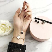 Women Alloy Black Agate Teddy Bear Necklace Earrings Jewelry Set Xmas Gift