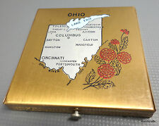 Dorset Fifth Avenue Powder Compact 1940s Ohio Map Place Names Signed Puff Sifter