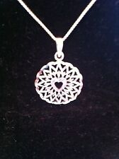 Sterling Silver Circle Pendant & Necklace Set