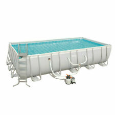Bestway 56662 Above Ground Swimming Pool Power Rectangular Steel Frame