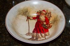 New Pottery Barn Christmas Holiday NOSTALGIC SANTA Bowl Vintage Design
