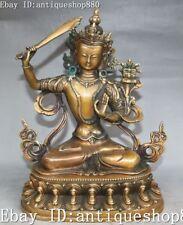 """9"""" Chinese Buddhism Pure Bronze Swords Wenshu Manjushri Goddess Buddha Statue"""