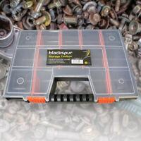 Plastic 14 Compartment Garage Bits Bolts Screws Carry Case Storage Tool Box DIY