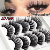 5Pairs Multipack Mink False Eyelashes Wispy Fluffy Long Natural Eye Lashes