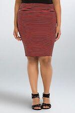 NWT Torrid Plus Size 4 4X Striped Foldover Midi Skirt Orange Black
